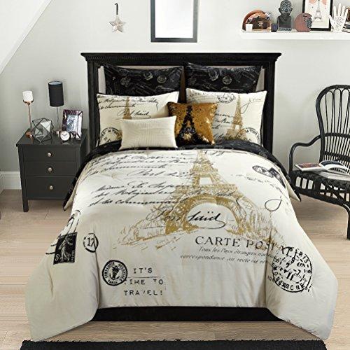 Amazon Com Casa Paris Gold 8 Piece Comforter Set Full Home Kitchen
