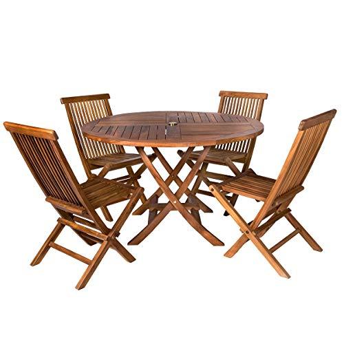 All Things Cedar TT5P-R 5-Piece Teak Round Table & Folding Chair Set
