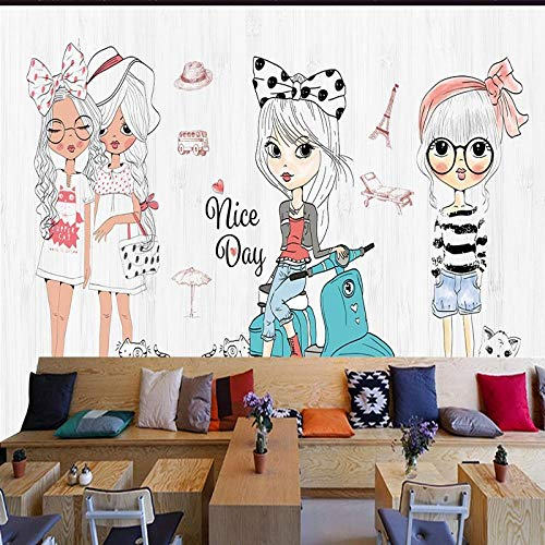 Sdefw Mural Wallpaper Photo Wallpaper Hand Painted Cartoon Girl Fashion Show Clothing Store Background Wallpaper Custom Shopping Mall Corridor Mural ()
