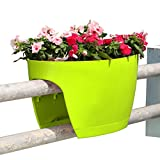 Greenbo XL Deck Rail Planter Box with Drainage trays, 24-Inch, Color Apple Green - set of 2