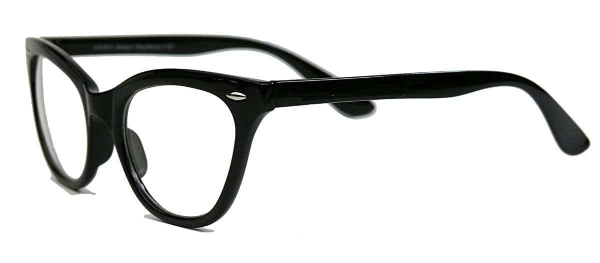 Unbekannt Damen Brillengestell im Stil der 50er 60er Jahre Cat Eye Nerdbrille Katzenaugen Hornbrille clear lens BB nvr