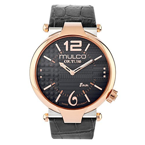 Mulco Couture Ladies Slim Quartz Slim Analog Swiss Movement Women's Watch | Special Texture Design Sundial with Rose Gold Accents | Black Watch Band | Water Resistant MW5-4234-023