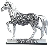 George S. Chen Imports SS-G-11678 Silver Toned Engraved Horse Trotting Statue, 7.25''