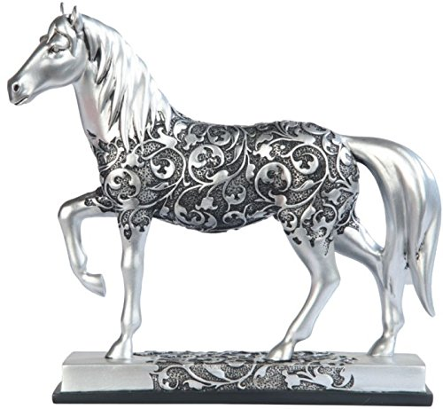 George S. Chen Imports SS-G-11678 Silver Toned Engraved Horse Trotting Statue, 7.25