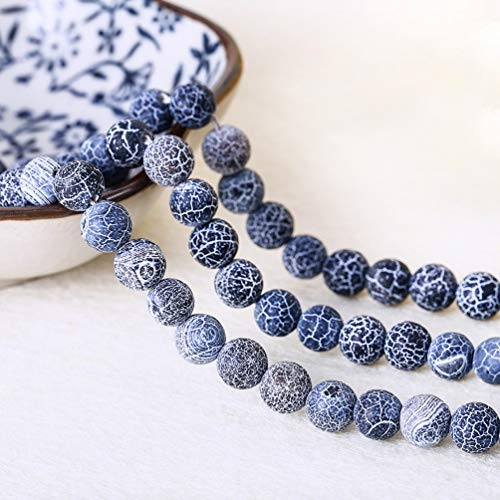 6mm Black Natural Weathered Matte Agate Stone Unpolished Round Beads Gemstone Beads Loose Beads for DIY Bracelet Necklace Earring Jewelry Making Craft Gift 60~62pcs 1 Strand