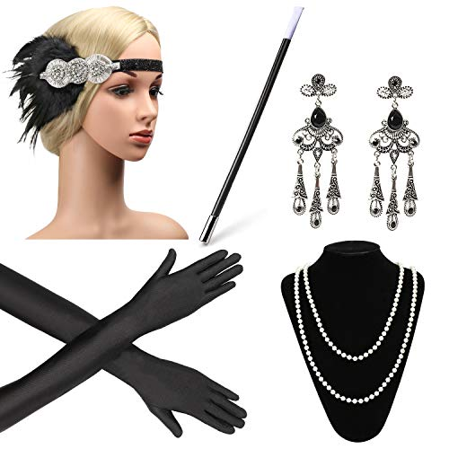 Beelittle 1920s Accessories Headband Earrings Necklace Gloves Cigarette Holder (A3) -