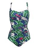 Ekouaer One Piece Swimwear Women's Tummy Control Swimsuit Push up Bathing Suit(PAT1,XX-Large)