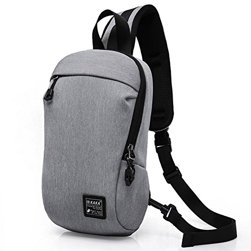 Unbalance BackPack, Anti-Theft Zipper Right Shoulder Buckle, for Outdoor Travel Nailon plástico Gris, by LC Prime Gray