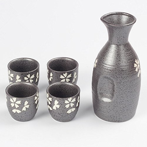 (Miyare Japanese Style Ceramics Wine Set - 1 Sake Pot & 4 Cups, Six Different Patterns for Choice (Cherry Blossom))