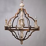 Lovedima Classic Antique Gold Frame Carved Wood 6 Candle Lights Rustic Chandelier Ceiling Light