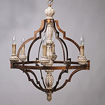 Lovedima classic antique gold frame carved wood 6 candle lights lovedima classic antique gold frame carved wood 6 candle lights rustic chandelier ceiling light aloadofball Image collections