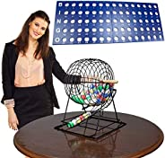 """Professional Bingo Set with 19"""" Cage, 1.5"""" Balls and Heavy Wooden Ball"""