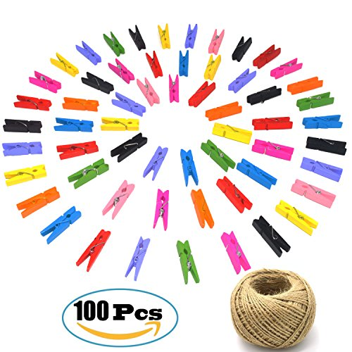 100pcs Mini Colorful Clothespins with 300 Feet Natural Jute Twine, Doubletwo Craft Jute Twine Packing String Bakers Twine, Mini Wooden Clips Craft Clothes Pin Wood Craft Pegs Clips Photo Clips free shipping