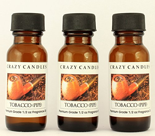 Crazy Candles Tobacco (Pipe) 3 Bottles 1/2 FL Oz Each (15ml) Premium Grade Scented Fragrance Oil (Made in USA)