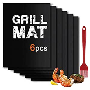 BBQ Grill Mat Set of (6+1) - Non Stick Oven Liner Teflon Cooking Mats - Perfect for Baking on Gas, Charcoal, Oven and Electric Grills - Reusable, Durable, Heat Resistant Barbecue Sheets 15.8 x 13 Inch