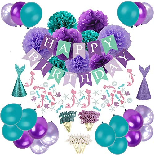 Mermaid Party Decorations, Sorive Happy Birthday Banner with Tissue Paper Pom Poms, Latex Balloons, Mermaid Confetti, Glitter Mermaid Party Hats and Cupcake Toppers - Teal Lavender - Birthday Lavender Hat
