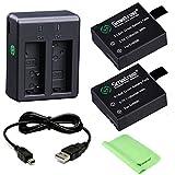 Smatree バッテリー2個 +急速デュアル充電器 + miniUSB SJCAM SJ4000、SJ5000 、SJ6000 、DBPOWER 、MUSON、Patech 、WIMIUS、AKASO EK7000など小型カメラーに対応します