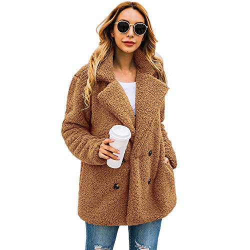 Womens Winter Coat Casual Lapel Fleece Fuzzy Jacket Button Down Shearling Sherpa Fur Jackets Outwear with Pockets (Camel,Large)