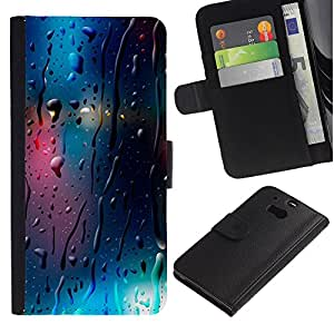 APlus Cases // HTC One M8 // Lluvia Cristal reflexivo luces Blur Noche Ciudad // Cuero PU Delgado caso Billetera cubierta Shell Armor Funda Case Cover Wallet Credit Card