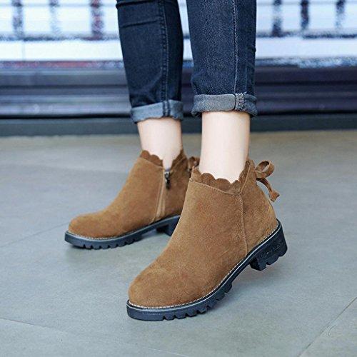 Fashion Brown Bowkont Boots Women Ankle Tie ESAILQ Short Shoes Booties Wedge Low dE0Pwqqfx