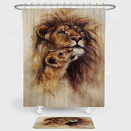 Safari Decor Shower Curtain And Floor Mat Combination Set Painting of Loving Lion and her baby Cub Snuggle Wildlife Nature Expression Safary Theme Image For decoration and daily use