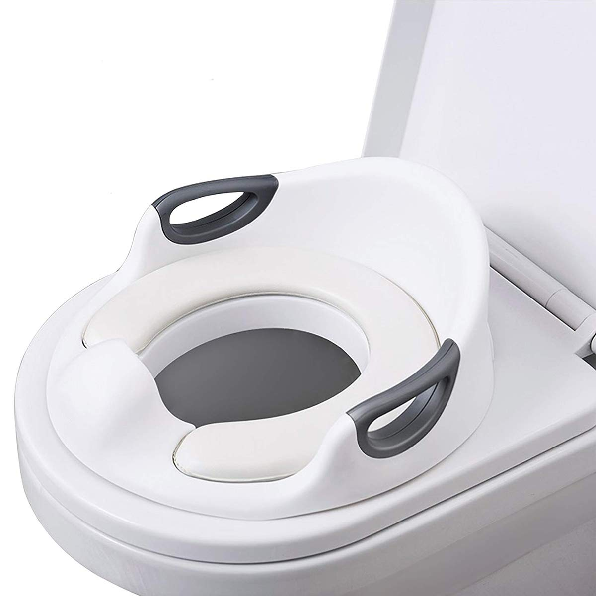 Potty Training Toilet Seat for Kids Toddlers Toilet Trainer Ring for Boys or Girls with Splash Guard Handles and Backrest, Apply to Round and Oval Toilets (White) NicoleKayLan