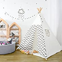 Kids Teepee Play Tent - 5' Feet Tall Large Nursery Children Tent Playhouse by Wonder Space, Handcrafted Decoration Indoor Outdoor Toy for Babies & Toddlers Nursery (Grey Raised Grain)