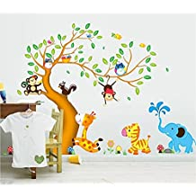 ufengke® Cartoon Happy Animal Tree with Owl Monkeys Zebra Giraffe Wall Decals, Children's Room Nursery Removable Wall Stickers Murals