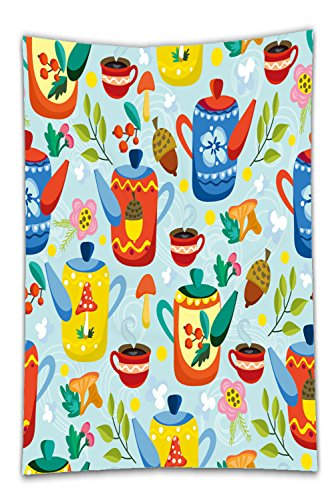 Nalahome Fleece Throw Blanket cute vector seamless pattern of teapots and tea cups and floral elements cozy pattern tea time 327495947