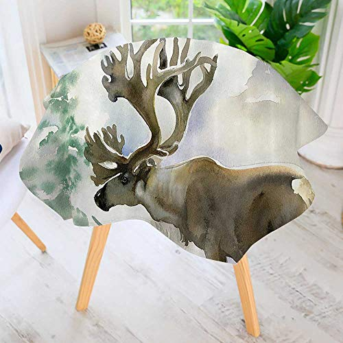 Polyester Dust-Prooftablecloth-Moose in Winter Forest Wildlife Reindeer Christmas Theme Watercolor Painting for Kitchen Dinning 63