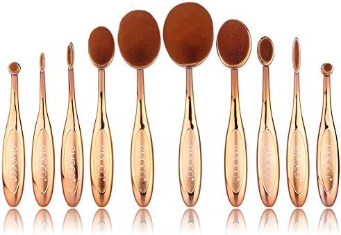 10 Piece Fashionable Super Soft Rose Gold Oval Toothbrush Makeup Cosmetic Face Powder Foundation Contour Concealer BB Cream Eye shadow Eyeliner Lip Brushes Set Kit with Gift Box
