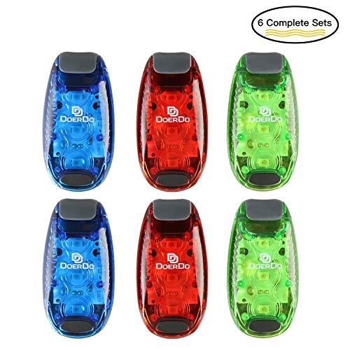 DoerDo LED Safety Light + 12 Free Bonuses Battery, Clip High LED Visibility Light Running, Walking, Jogging, Cycling, Reflective Kids, Dogs, Bike Tail Light, Outdoors Activity (3 LED ()