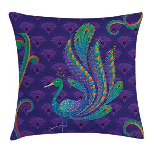 Ambesonne Ethnic Throw Pillow Cushion Cover, Peacock Bird with Oriental Feather Before Eastern Ancient Animal Image, Decorative Square Accent Pillow Case, 18 X 18 Inches, Purple Green and Blue
