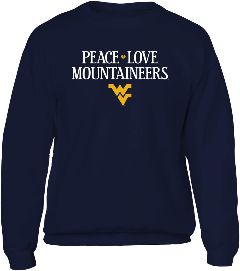 FanPrint West Virginia Mountaineers T-Shirt Officially Licensed WVU West Virginia Peace Love Mountaineers
