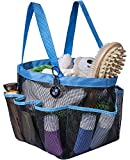 Attmu Portable Caddy with 8 Mesh Storage Pockets, Quick Dry Shower Tote Bag Oxford Hanging Toiletry and Bath Organizer for Shampoo, Conditioner, Soap and Other Bathroom Accessories, Blue