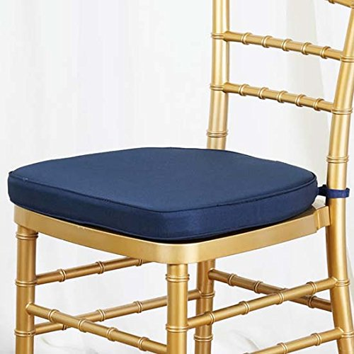 (Efavormart Navy Blue Chiavari Chair Cushion Chair Pad with Attachment Straps Party Event Decoration - 2