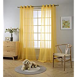 "Miuco 2 Panels Grommet Textured Solid Sheer Curtains 84 Inches Long for Living Room (2 x 54 Wide x 84"" Long) Yellow"