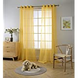 Miuco 2 Panels Grommet Textured Solid Sheer Curtains 84 Inches Long For Living  Room (2