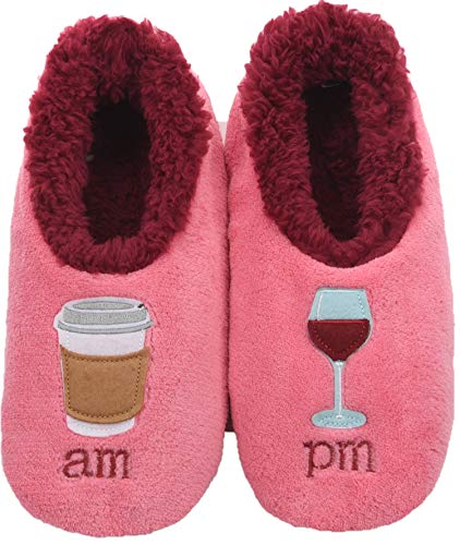 Snoozies Womens Classic Splitz Applique Slipper Socks | AM/PM | Medium