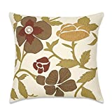 Aitliving Couch Pillow Cover Handmade 18x18 Throw Pillowcase for Sofa Bed Retro Appliqued Floral Leaves Home Decor Bamboo Cotton Slubbed Texture, Painting Garden Flower Embroidered French Bucolic