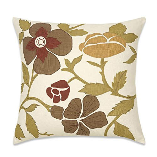 Aitliving Couch Pillow Cover Handmade 18x18 Throw Pillowcase for Sofa Bed Retro Appliqued Floral Leaves Home Decor Bamboo Cotton Slubbed Texture, Painting Garden Flower Embroidered French ()