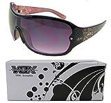 Vox TR90 Women's Sunglasses Designer Fashion Eyewear Shield Unbreakable - Black & Purple Frame - Smoke Lens