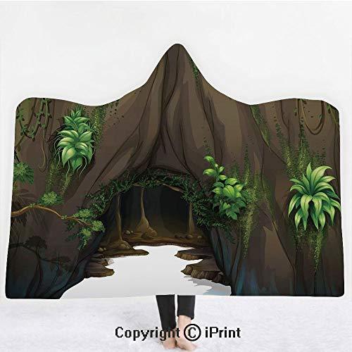 Nature 3D Print Soft Hooded Blanket Boys Girls Premium Throw Blanket,Tree Cave Surrounded with Moss Woodland Green Fantasy Secret World Cartoon,Lightweight Microfiber(Kids 50