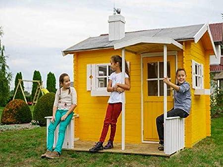 Italfrom - Casita de jardín para niños hecha madera de abeto Kinder, 18 mm, 3,54 m², 216 x 154 cm: Amazon.es: Hogar