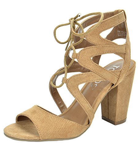 TOETOS Women's Stella-03 Nude Open Toe High Chunky Heel Pump Sandals - 9 M US