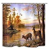 DYNH Elk Shower Curtain Animals Theme, Deer Safair in Stream River at Forest sunset, Mildew Resistant Waterproof Polyester Fabric Bathroom Decor, Bath Curtains Accessories, with Hooks, 69X70 Inches