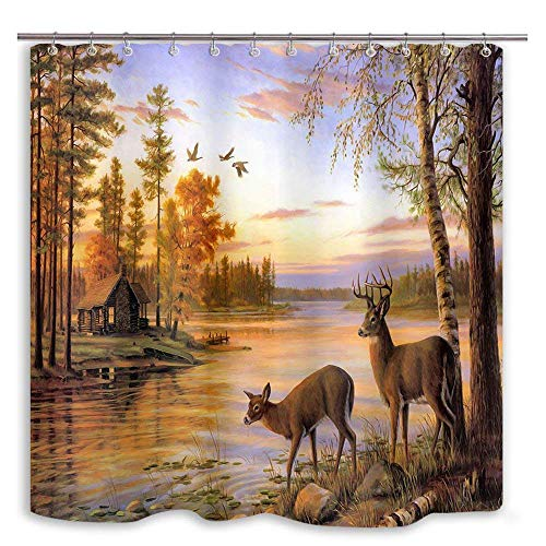 DYNH Elk Shower Curtain Animals Theme, Deer Safair in Stream River at Forest sunset, Mildew Resistant Waterproof Polyester Fabric Bathroom Decor, Bath Curtains Accessories, with Hooks, 69X70 Inches by DYNH