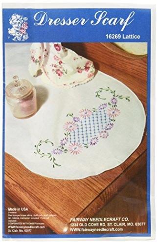 (Fairway 16269 Dresser Scarf, Lattice Design, White, Perle)