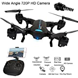 Littleice Mini A6 Foldable RC Quadcopter Drone Remote Control Helicopter Toys With Wifi FPV HD Camera 2.4G 6-Axis (Wide Angle)