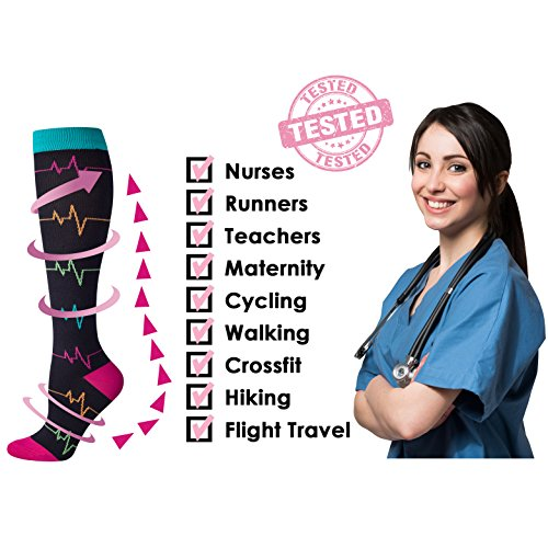 Compression Socks for Women Nurse, 2/3 Pairs, Graduated 20-30 mmHg Knee High Stocking, Fits for Nurse, Doctor, and Pregnancy, Reduce Fatigue, Swelling, Shin Splints (EKG & Nurse 4 Pairs, M) by LEVSOX (Image #3)